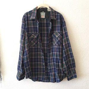 90s Vintage Mens Plaid Flannel Barn Chore Coat L